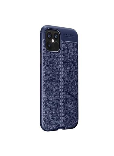 Microsonic Apple iPhone 12 Pro Kılıf Deri Dokulu Silikon Lacivert